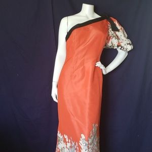 OSCAR DE LA RENTA orange & gray one shoulder gown